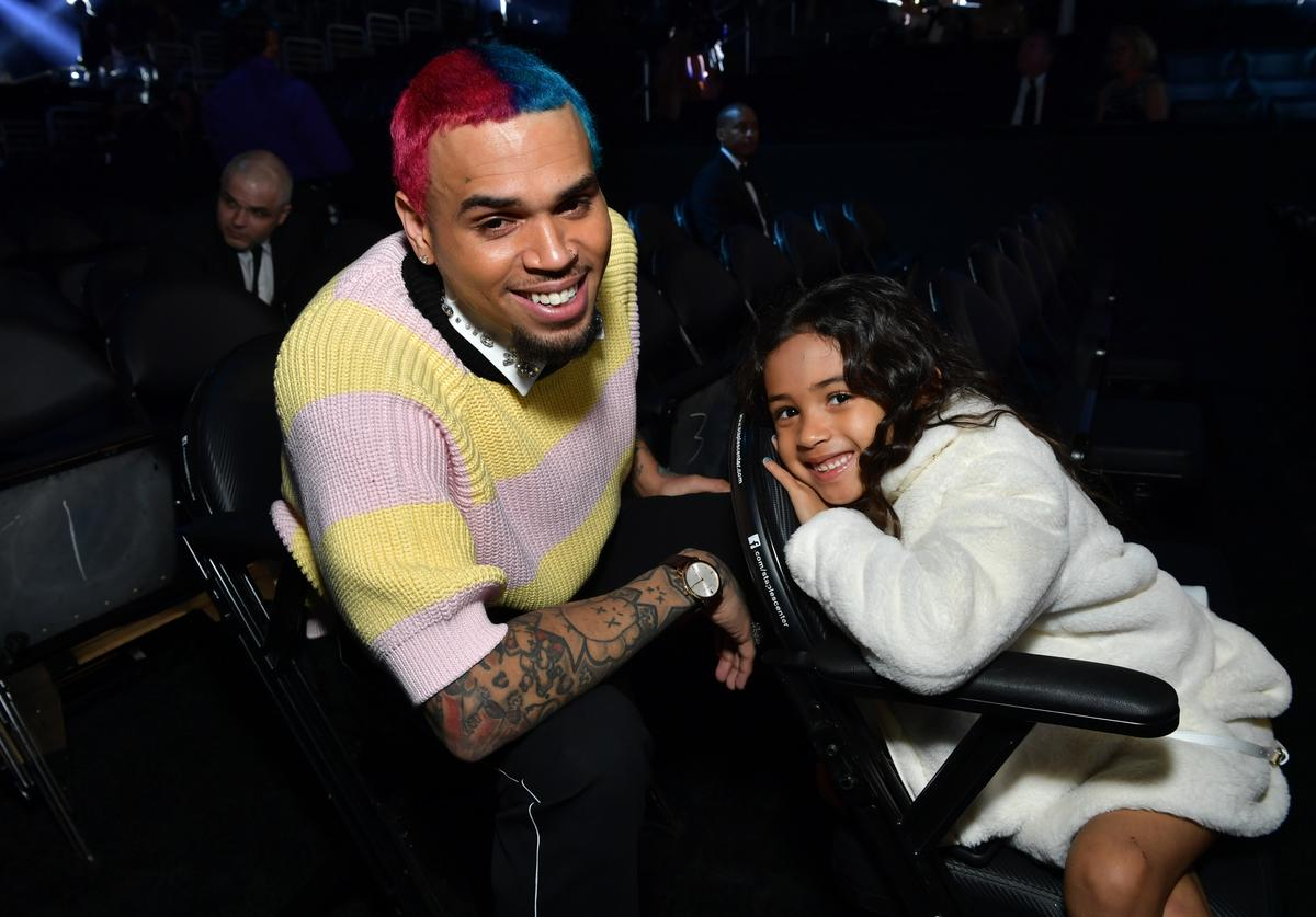 Chris Brown and Royalty Brown attends the 62nd Annual GRAMMY Awards at STAPLES Center on January 26, 2020 in Los Angeles, California