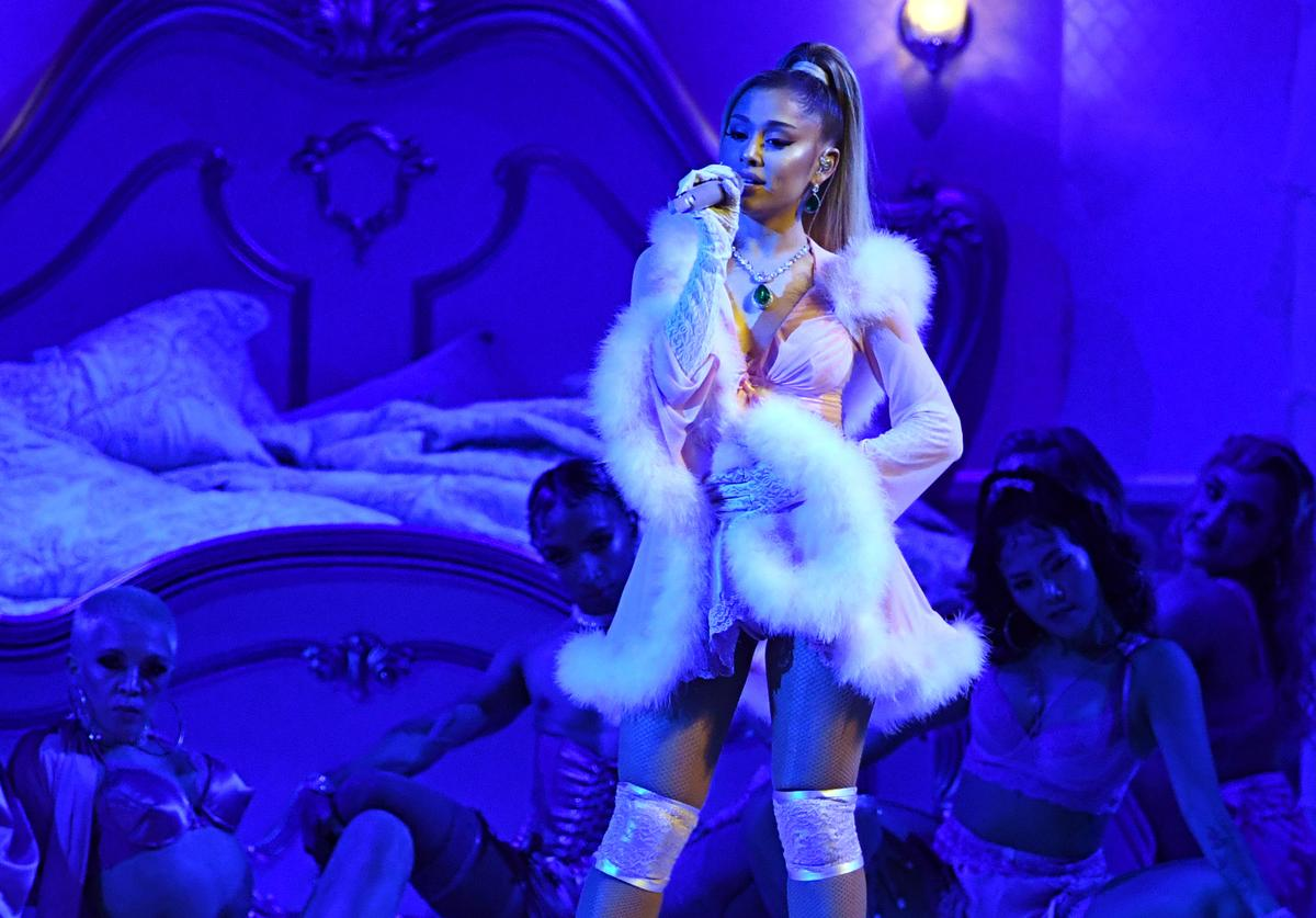 Ariana Grande performs onstage during the 62nd Annual GRAMMY Awards (Jan. 2020)