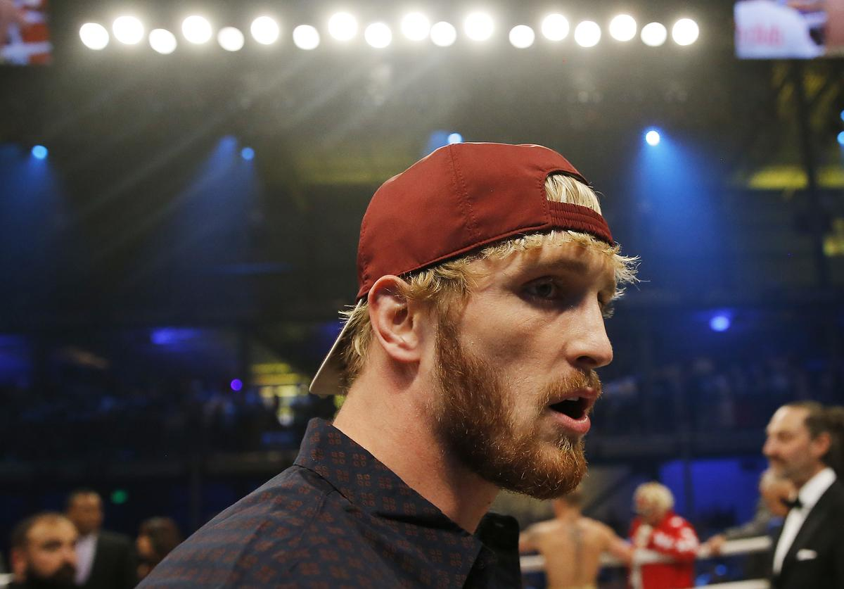 Logan Paul looks on after his brother, Jake Paul, defeated AnEsonGib in a first round knockout  (Jan. 2020)