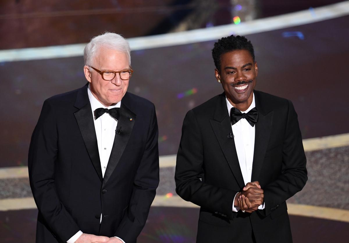 Steve Martin and Chris Rock speak onstage during the 92nd Annual Academy Awards (Feb. 2020)