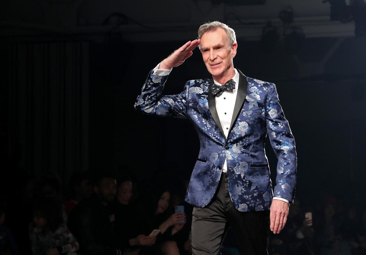 Bill Nye walks the runway at The Blue Jacket Fashion Show during NYFW at Pier 59 Studios (Feb. 2020)