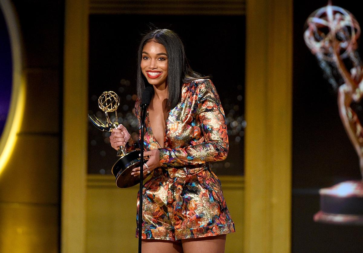 Lori Harvey accepts Outstanding Informative Talk Show Host award on behalf of Steve Harvey and 'STEVE' onstage during the 45th annual Daytime Emmy Awards at Pasadena Civic Auditorium on April 29, 2018 in Pasadena, California