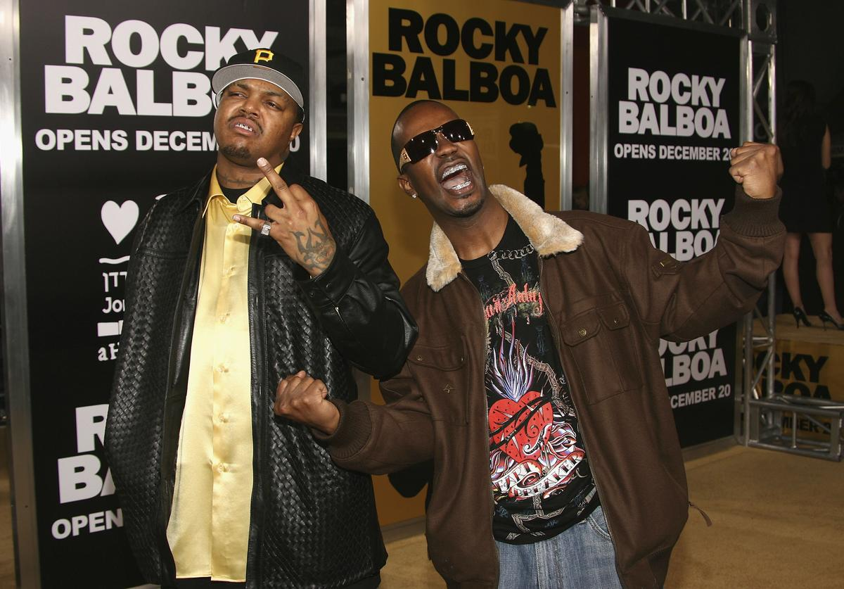 """Three 6 Mafia attend the world premiere of """"Rocky Balboa"""" at Grauman's Chinese Theater on December 13, 2006 in Hollywood, California."""