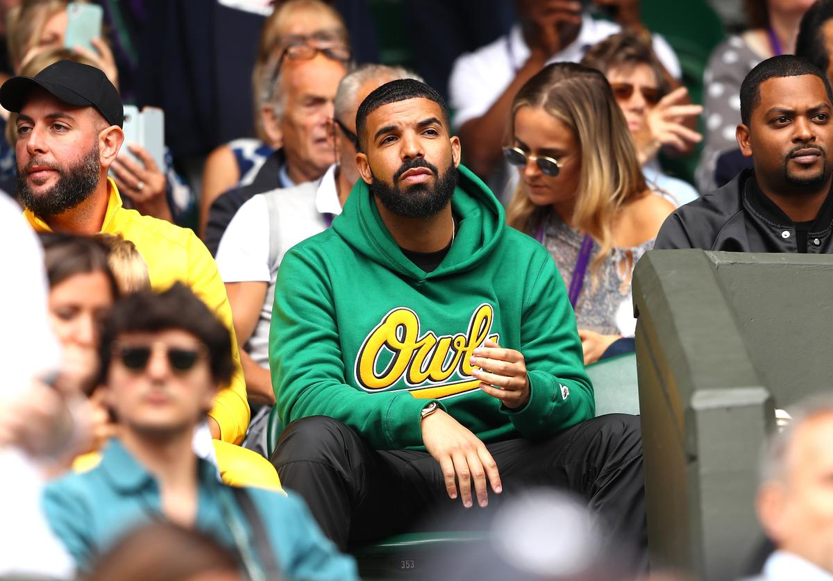 Rapper Drake attends day eight of the Wimbledon Lawn Tennis Championships at All England Lawn Tennis and Croquet Club on July 10, 2018 in London, England.