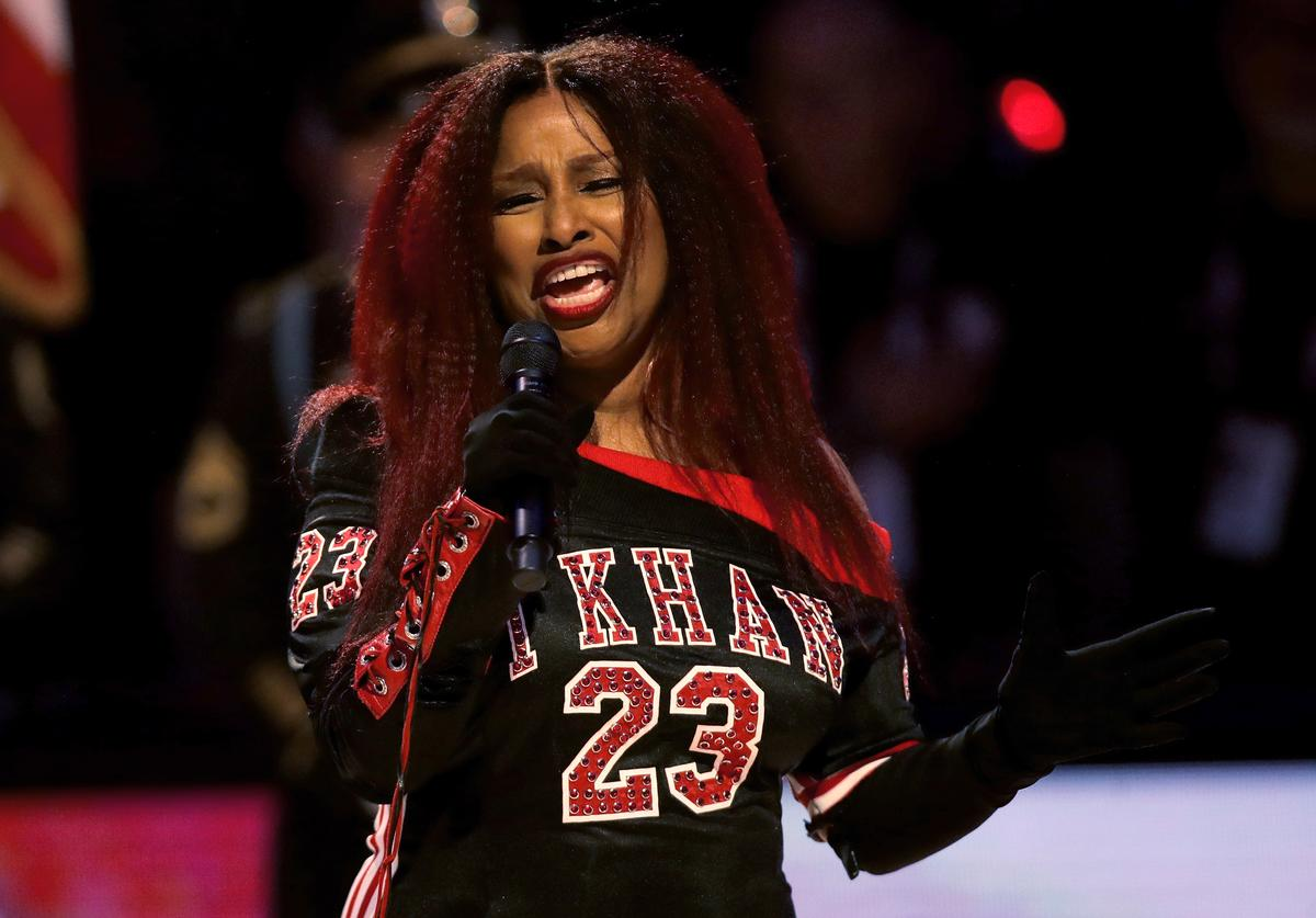 Chaka Khan sings the United States national anthem before the 69th NBA All-Star Game at the United Center on February 16, 2020 in Chicago, Illinois