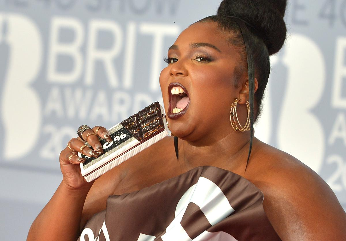 Lizzo in a chocolate dress at the Brit Awards