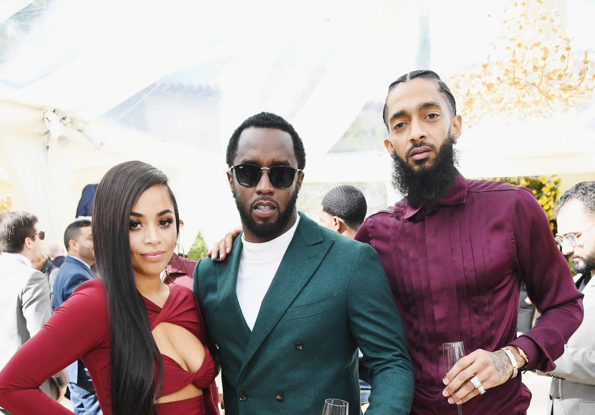 Lauren London, Diddy and Nipsey Hussle attend 2019 Roc Nation THE BRUNCH on February 9, 2019 in Los Angeles, California