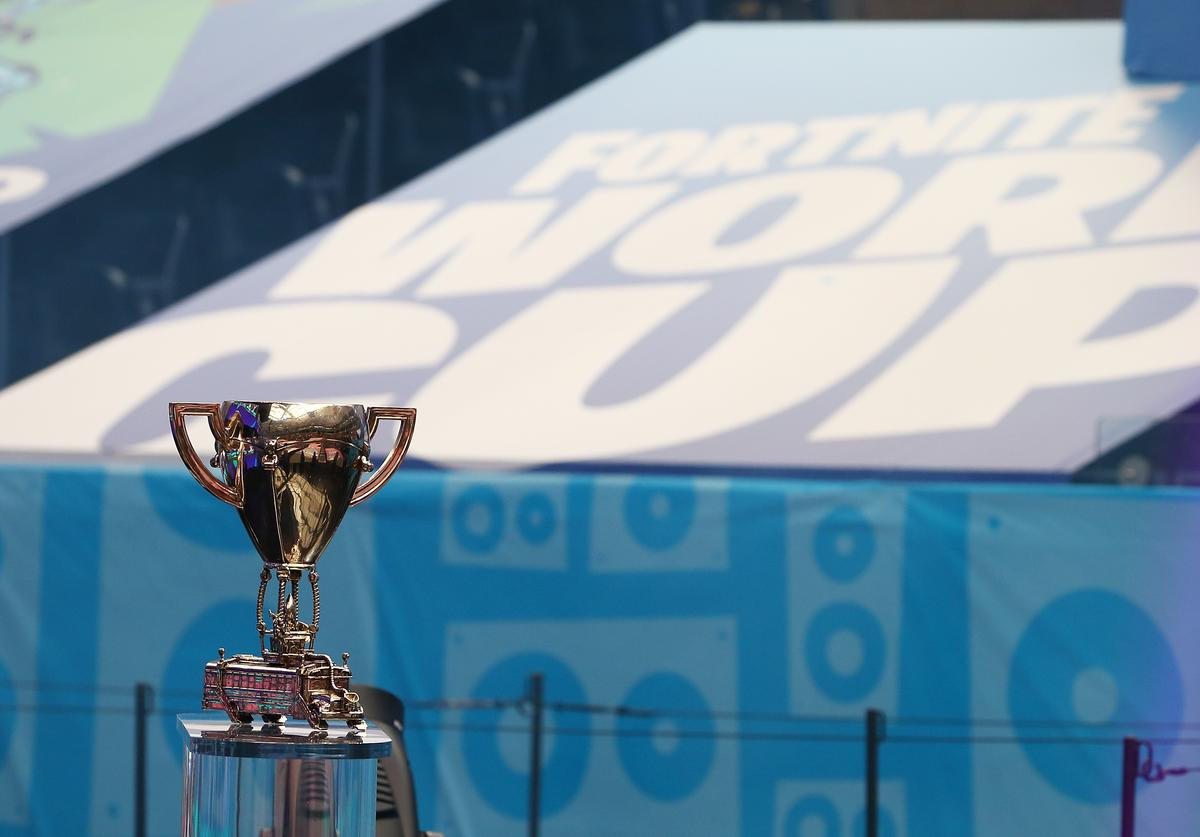 The Fortnite World Cup trophy is seen during the Final round at Arthur Ashe Stadium on July 28, 2019 in New York City