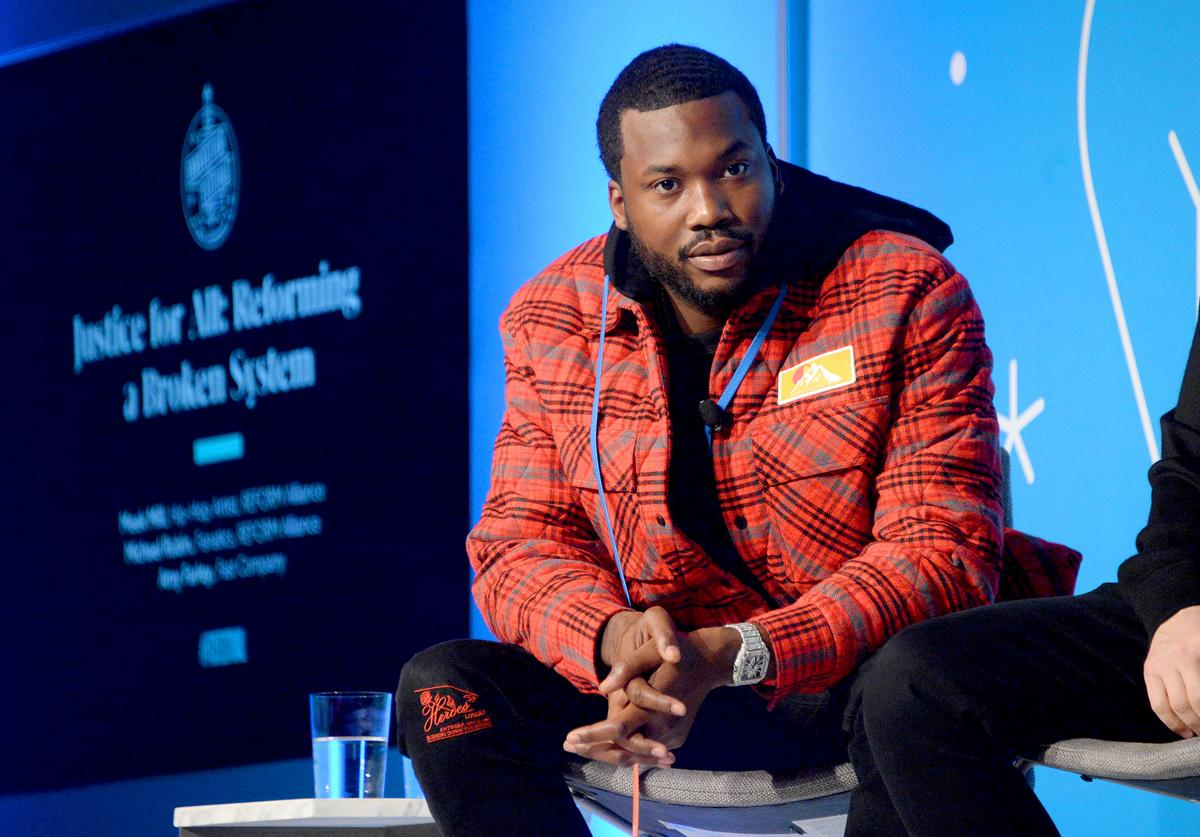"Meek Mill speaks on stage at the ""Justice for All: Reforming a Broken System"" at the Fast Company Innovation Festival - Day 2 on November 06, 2019 in New York City."