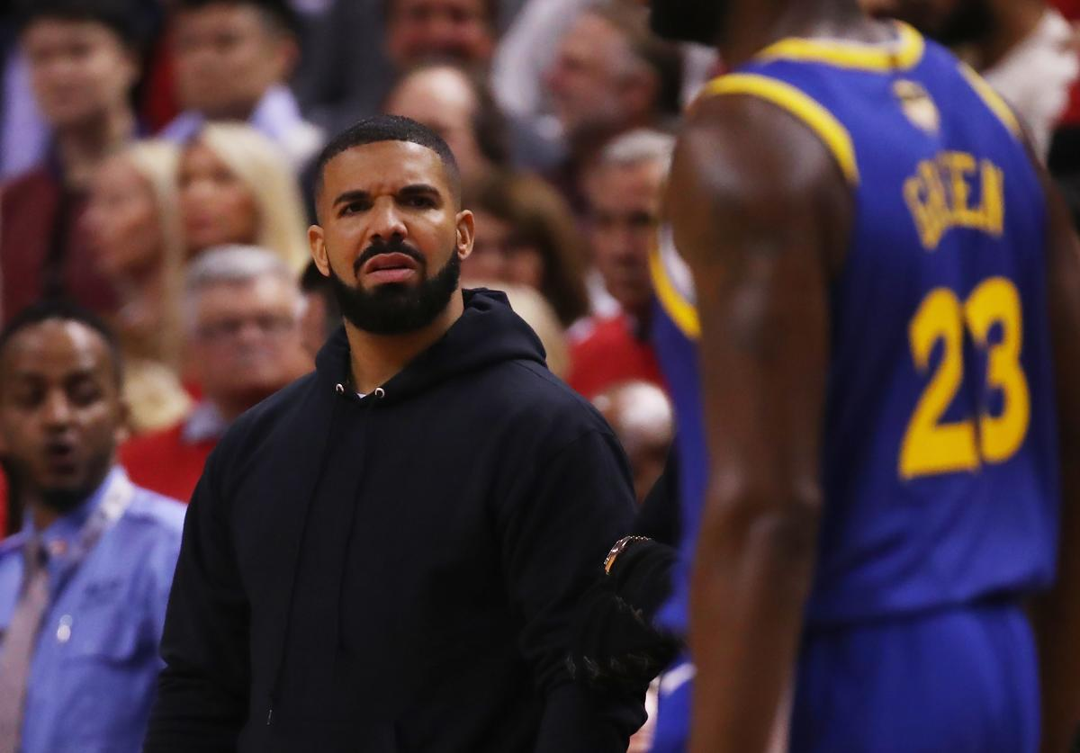 Drake reacts in the first half during Game Two of the 2019 NBA Finals between the Golden State Warriors and the Toronto Raptors at Scotiabank Arena on June 02, 2019 in Toronto, Canada.