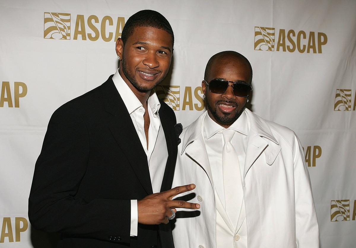Musicians Usher and Jermaine Dupri attend the 22nd Annual ASCAP Pop Music Awards Gala on May 16, 2005 at the Beverly Hilton in Beverly Hills, California. Dupri was honored with the ASCAP Golden Note Award.