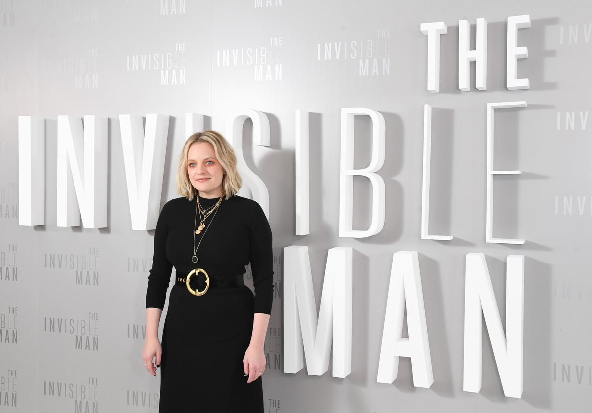 "Elizabeth Moss attends the ""The Invisible Man"" Photocall at Soho Hotel on February 18, 2020 in London, England."