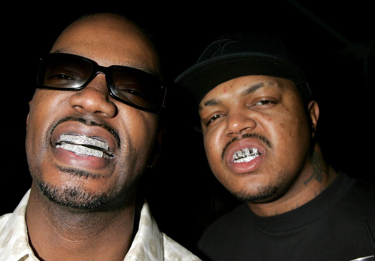 Two members of the group Three 6 Mafia attend the William Morris Agency Grammy Party on February 8, 2006 in Beverly Hills, California.