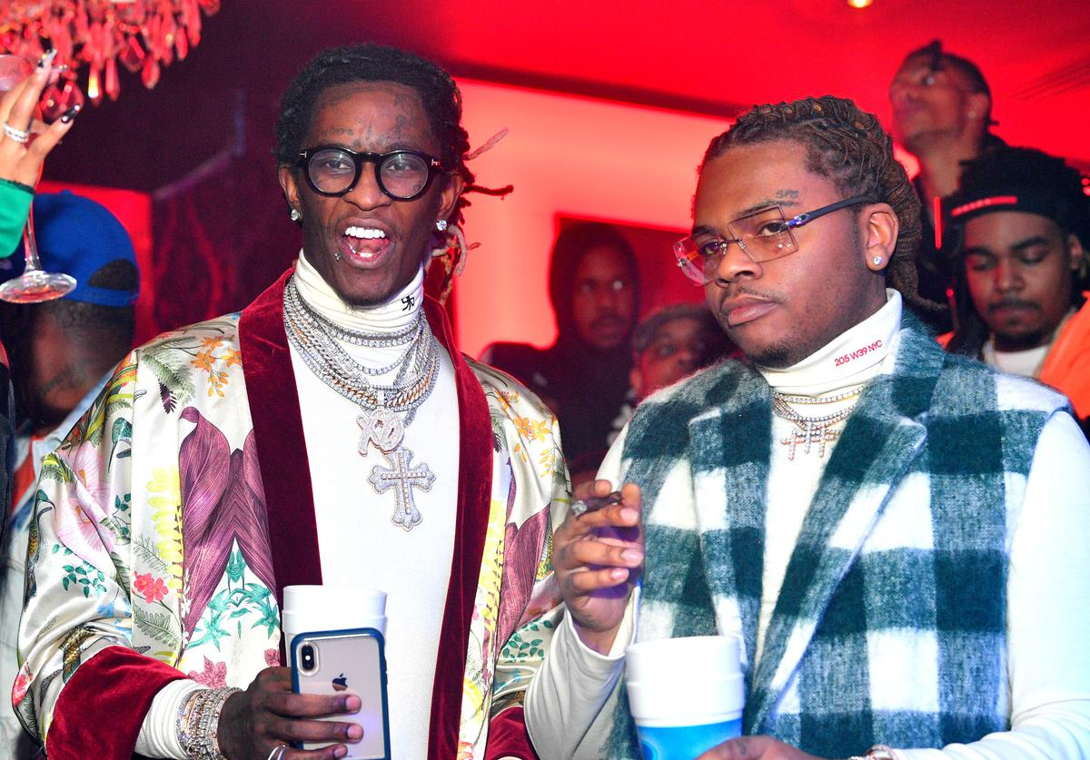 "Rappers Young Thug and Gunna attend Gunna ""Drip or Drown 2"" album release party at Compound on February 24, 2019 in Atlanta, Georgia.("