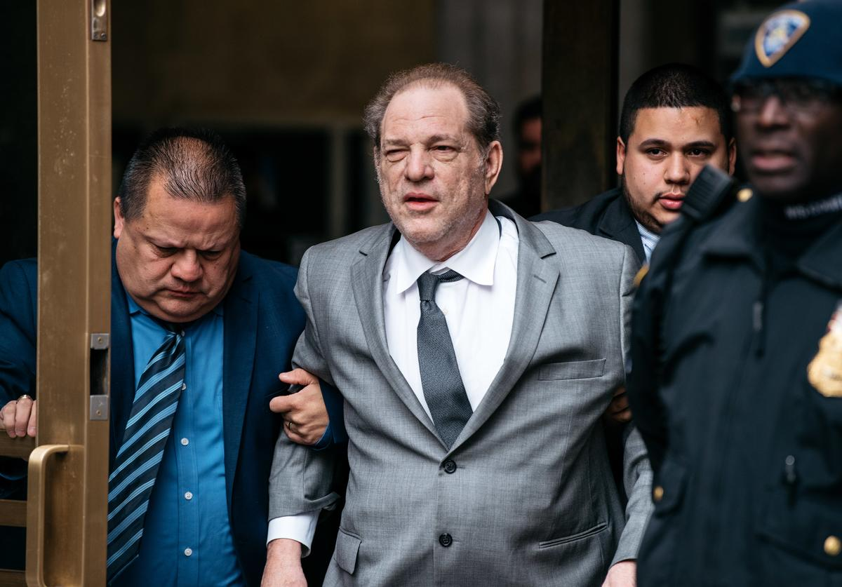 Harvey Weinstein leaves New York City Criminal Court after a bail hearing on December 6, 2019 in New York City. The Oscar-winning producer appeared in court for a proceeding to evaluate his bail in part of reforms set to take effect Jan. 1 throughout New York State.