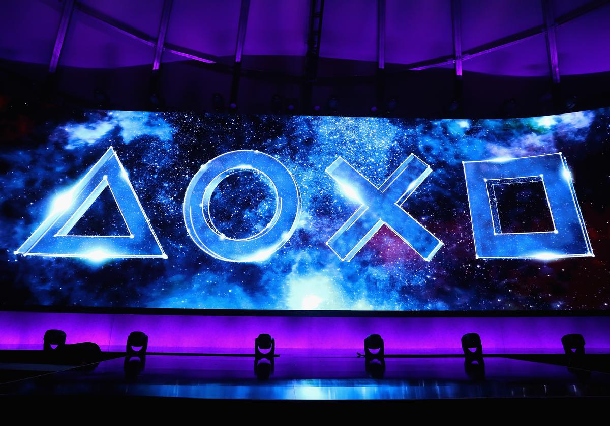 Sony Playstation logos are displayed during the Sony Playstation E3 conference at LA Center Studios on June 11, 2018 in Los Angeles, California. The E3 Game Conference begins on Tuesday June 12.