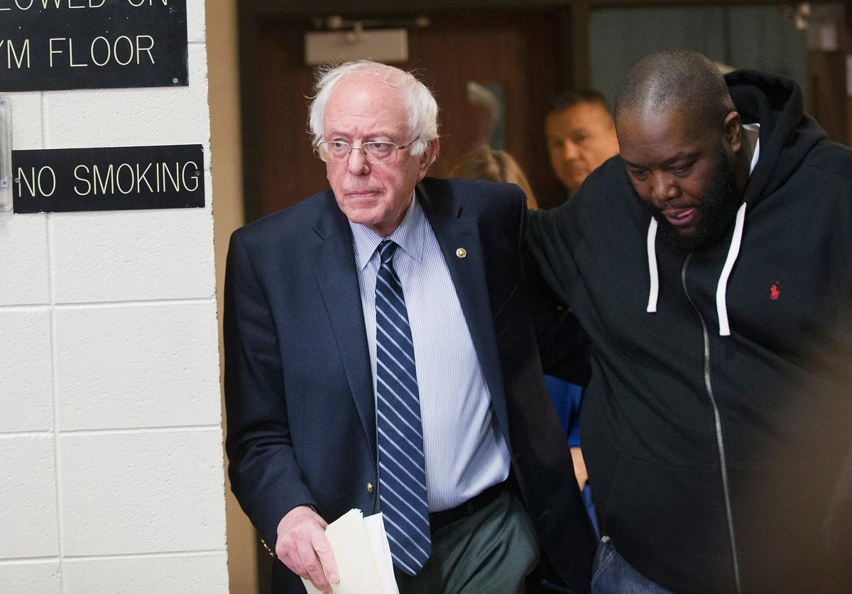 Democratic presidential candidate Sen. Bernie Sanders (D-VT) arrives for a rally at Claflin University with rapper Killer Mike on February 26, 2016 in Orangeburg, South Carolina.