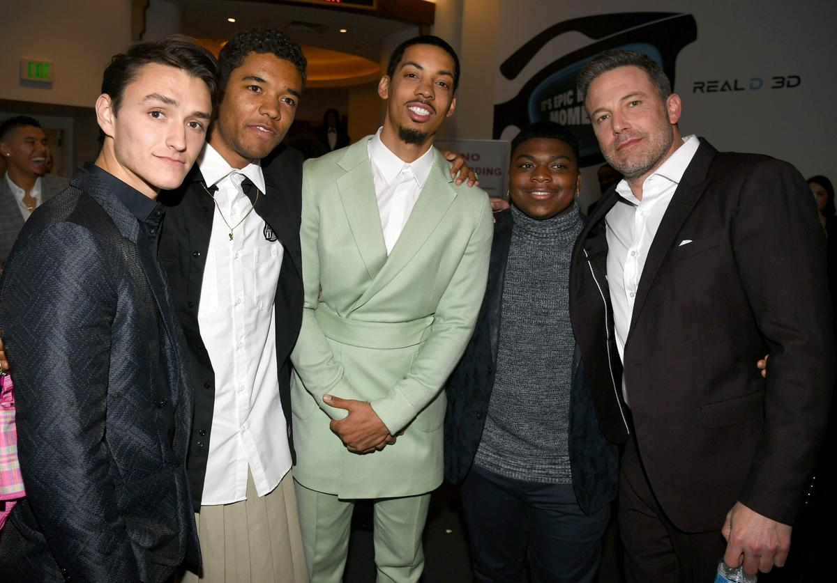 "Will Ropp, Brandon Wilson, Melvin Gregg, Charles Lott Jr. and Ben Affleck attend the premiere of Warner Bros Pictures' "" The Way Back"" at Regal LA Live on March 01, 2020 in Los Angeles, California."