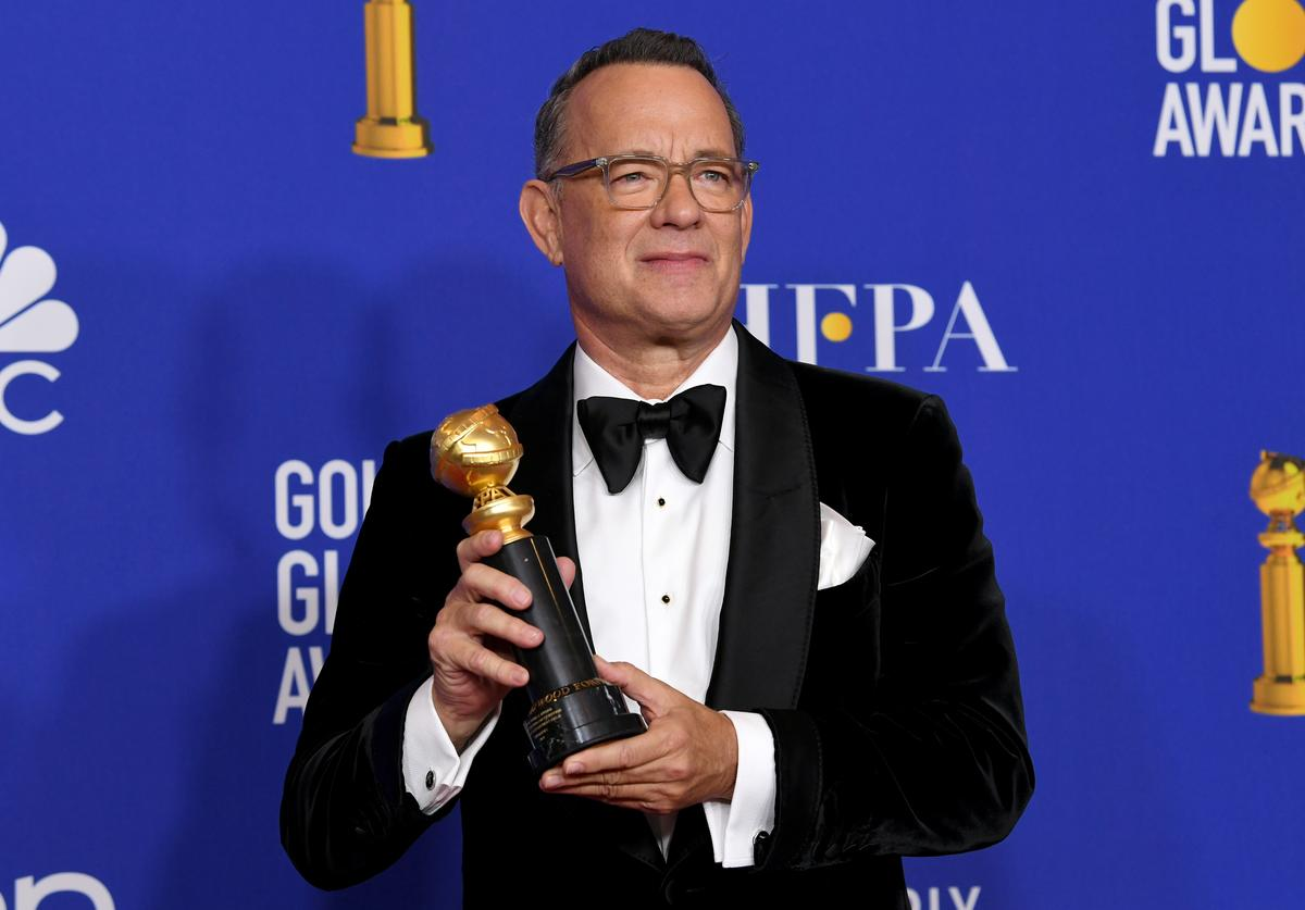 Tom Hanks, winner of the Cecil B. Demille Award, poses in the press room during the 77th Annual Golden Globe Awards at The Beverly Hilton Hotel on January 05, 2020 in Beverly Hills, California