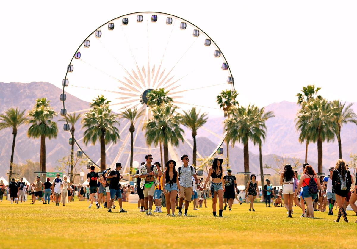 Festivalgoers attend the 2018 Coachella Valley Music And Arts Festival at the Empire Polo Field on April 13, 2018 in Indio, California.