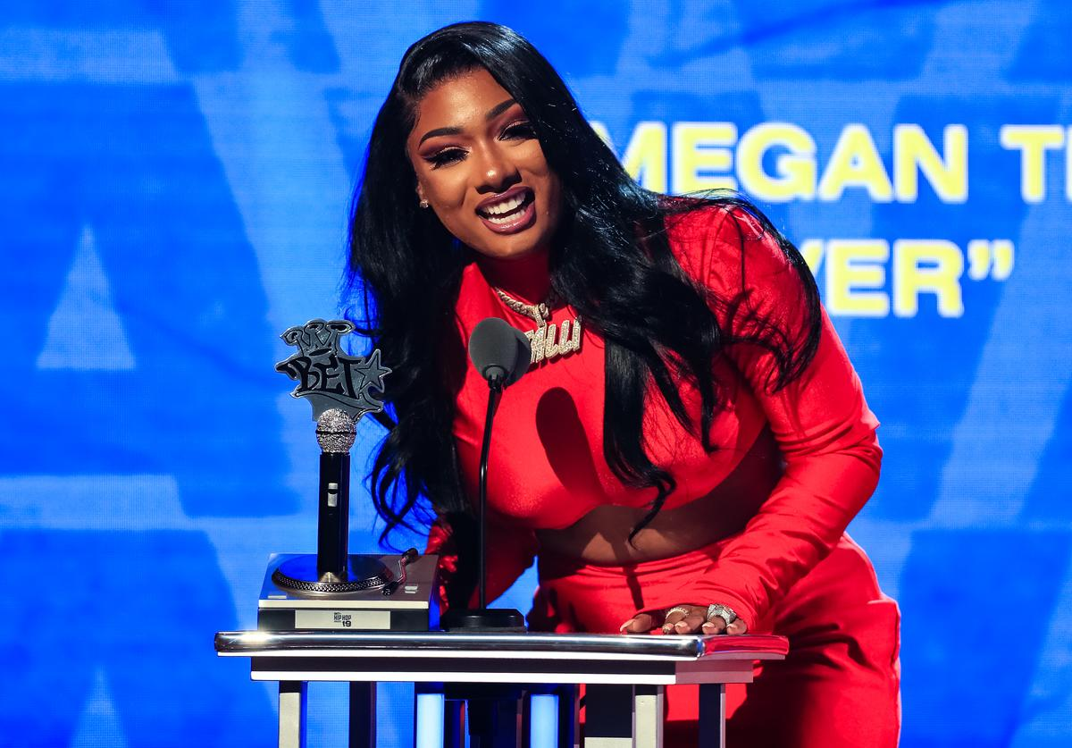 Megan Thee Stallion speaks onstage at the BET Hip Hop Awards 2019 at Cobb Energy Center on October 5, 2019 in Atlanta, Georgia.