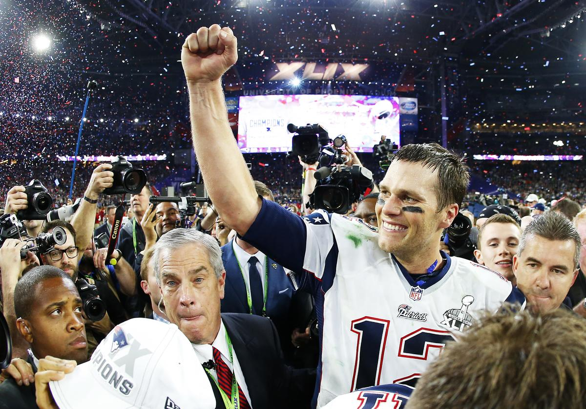 Tom Brady #12 of the New England Patriots celebrates after defeating the Seattle Seahawks 28-24 during Super Bowl XLIX at University of Phoenix Stadium on February 1, 2015 in Glendale, Arizona.