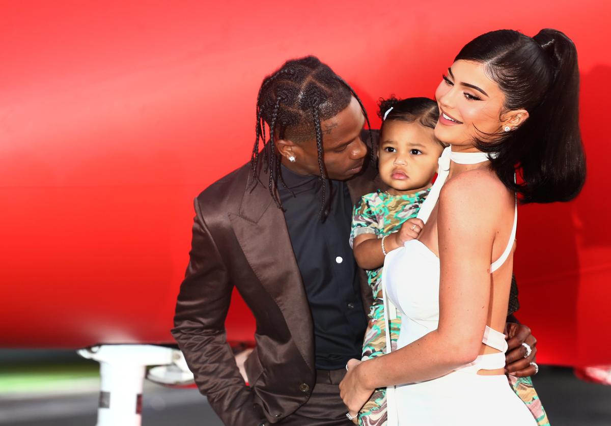 Travis Scott Stormi Webster ball out basketball court game hoops dunk father daughter baby toddler Kylie Jenner