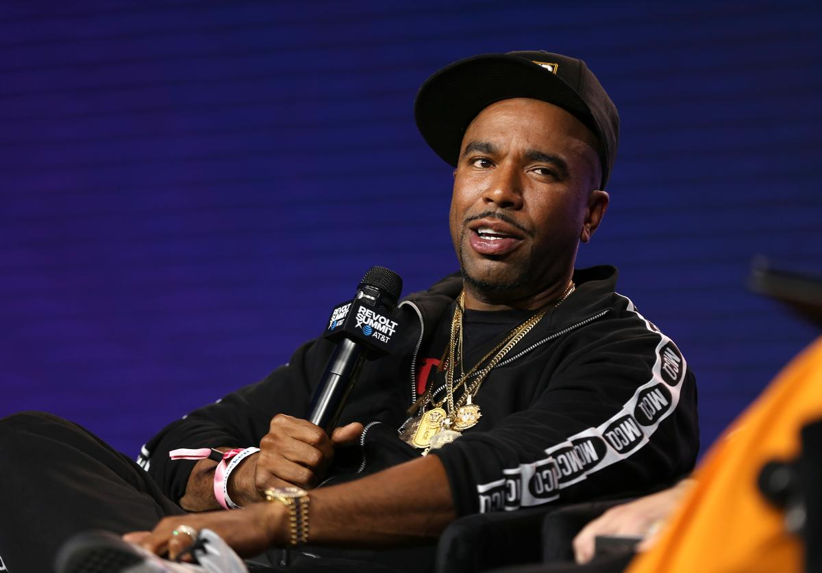N.O.R.E. onstage at the REVOLT X AT&T Host REVOLT Summit In Los Angeles at Magic Box on October 27, 2019 in Los Angeles, California.