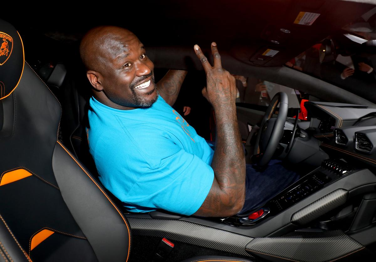 haquille O'Neal demos Amazon Alexa in the Lamborghini Huracan Evo during the Amazon After Hours during CES 2020 at The Venetian Las Vegas on January 07, 2020 in Las Vegas, Nevada.