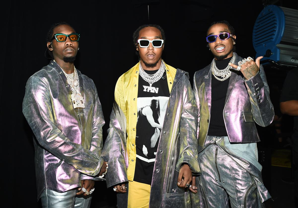 Migos pose backstage for Savage X Fenty Show Presented By Amazon Prime Video - Backstage at Barclays Center on September 10, 2019 in Brooklyn, New York.