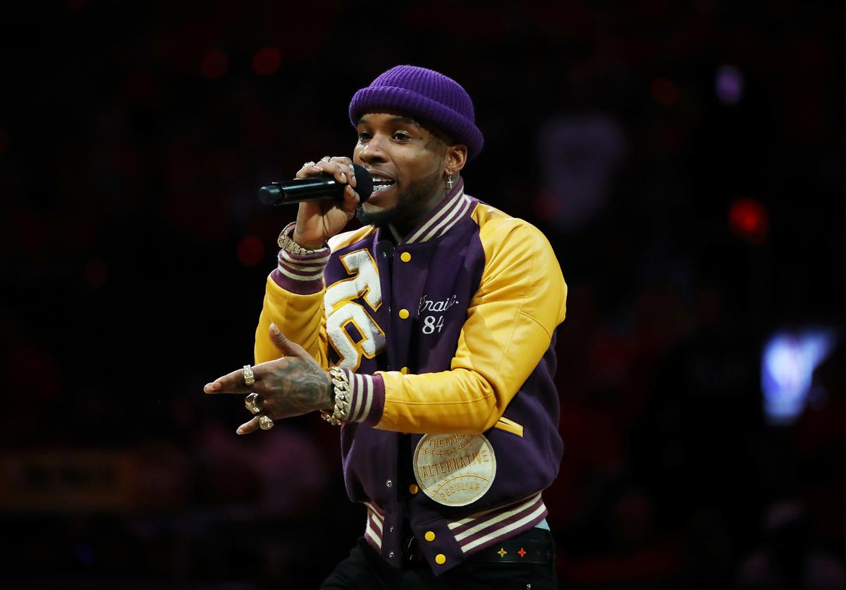 Torey Lanez performs during Game Five of the 2019 NBA Finals between the Golden State Warriors and the Toronto Raptors at Scotiabank Arena on June 10, 2019 in Toronto, Canada. NOTE TO USER: User expressly acknowledges and agrees that, by downloading and or using this photograph, User is consenting to the terms and conditions of the Getty Images License Agreement