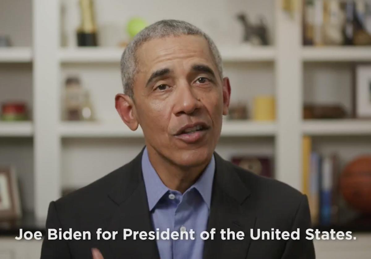 In this screengrab taken from Twitter.com, former U.S. President Barack Obama endorses Democratic presidential candidate former Vice President Joe Biden during a video released on April 14, 2020