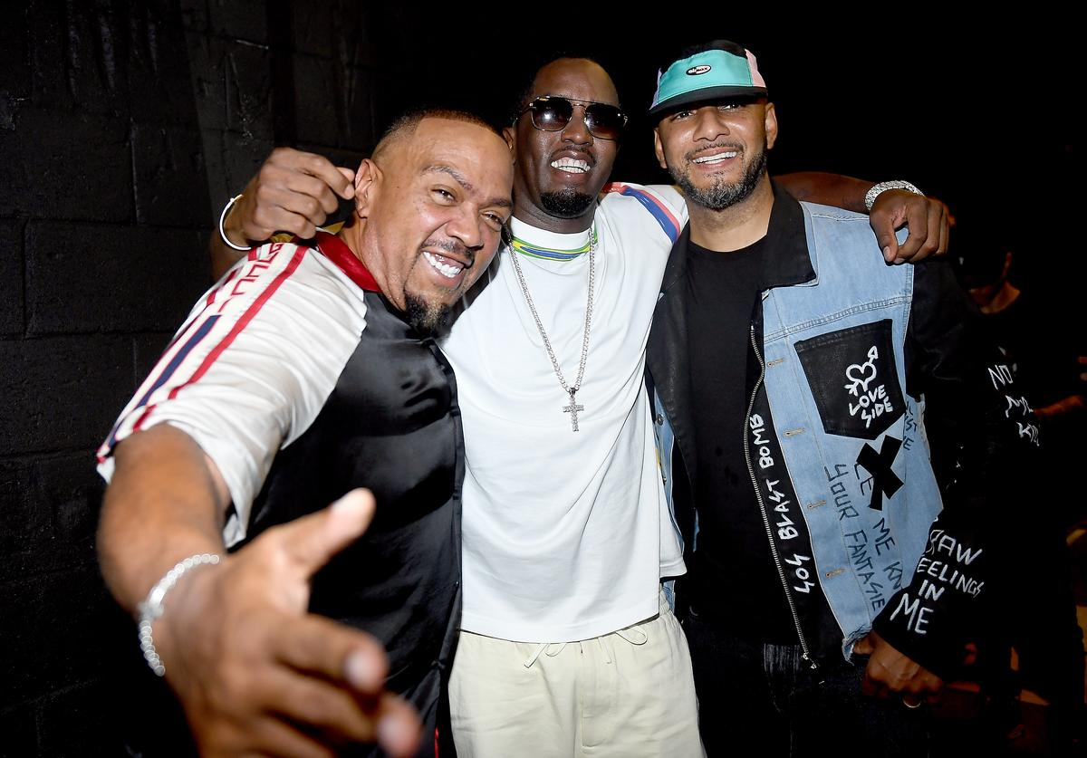 """Artists Timbaland, Sean """"Diddy"""" Combs and Swizz Beatz attend day 1 of REVOLT Summit x AT&T Summit on September 12, 2019 in Atlanta, Georgia"""
