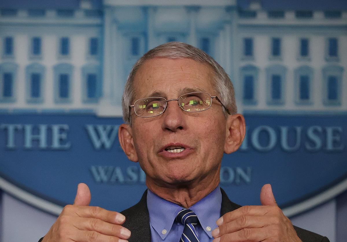 Dr. Anthony Fauci, director of the National Institute of Allergy and Infectious Diseases, speaks to reporters following a meeting of the coronavirus task force in the Brady Press Briefing Room at the White House on April 6, 2020 in Washington, DC. Infected with COVID-19, British Prime Minister Boris Johnson was admitted intensive care at a hospital in London Monday as the U.S. death toll surpassed 10,000.