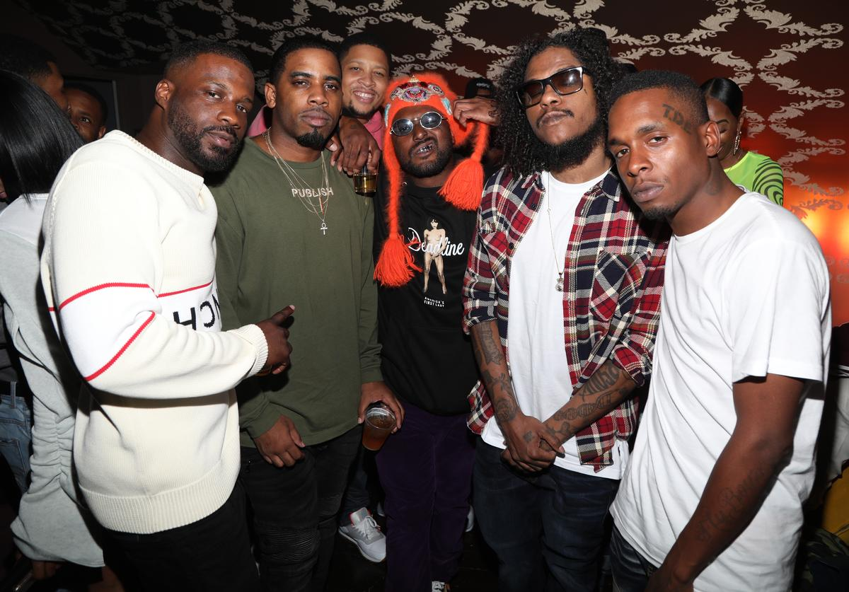 Jay Rock, Reason, Keem, Schoolboy Q (C), Ab-Soul and friends attend Jay Rock's Birthday at The Novo VIP Lounge on March 29, 2019 in Los Angeles, California.