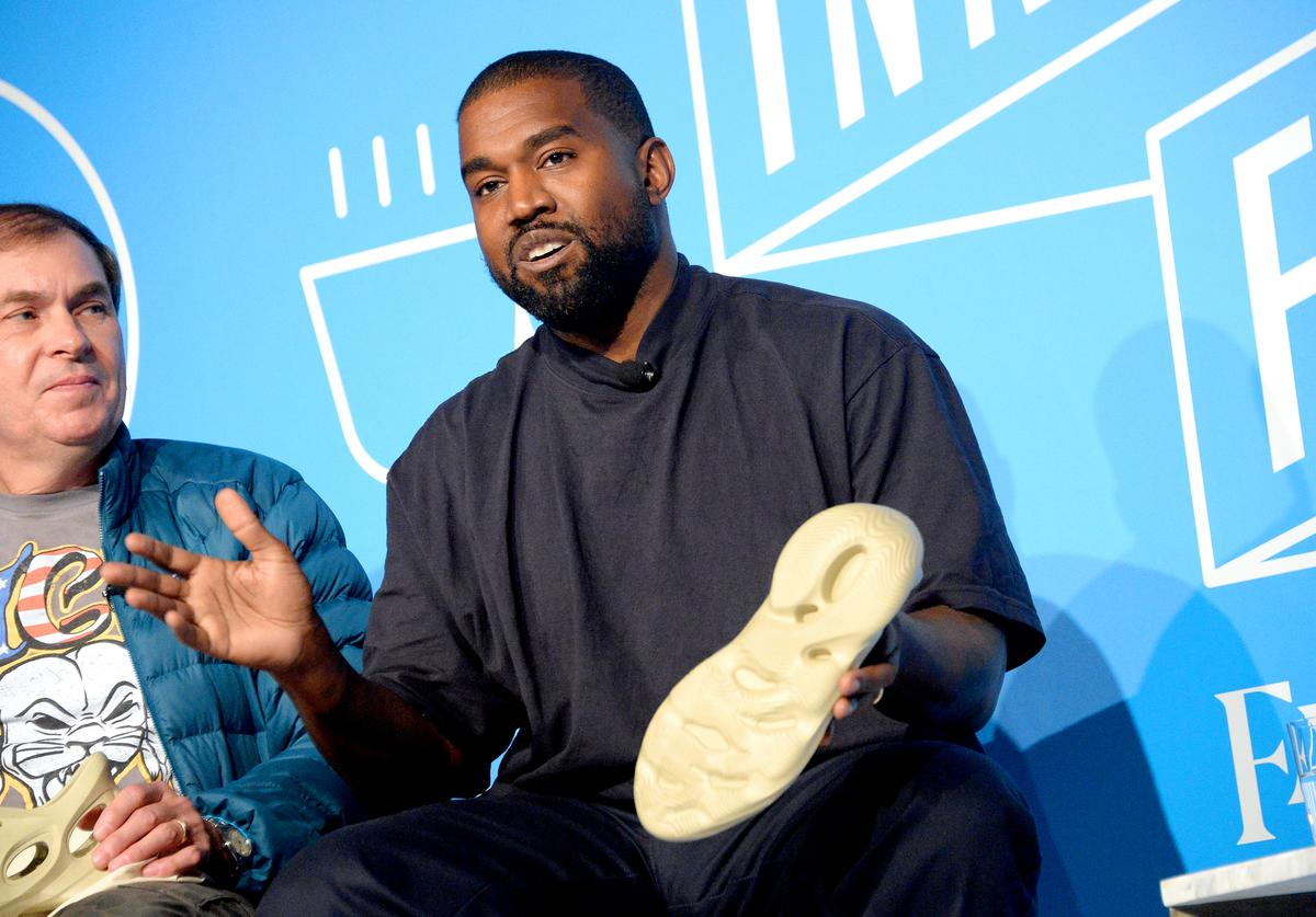 "Steven Smith and Kanye West speak on stage at the ""Kanye West and Steven Smith in Conversation with Mark Wilson"" at the on November 07, 2019 in New York City."