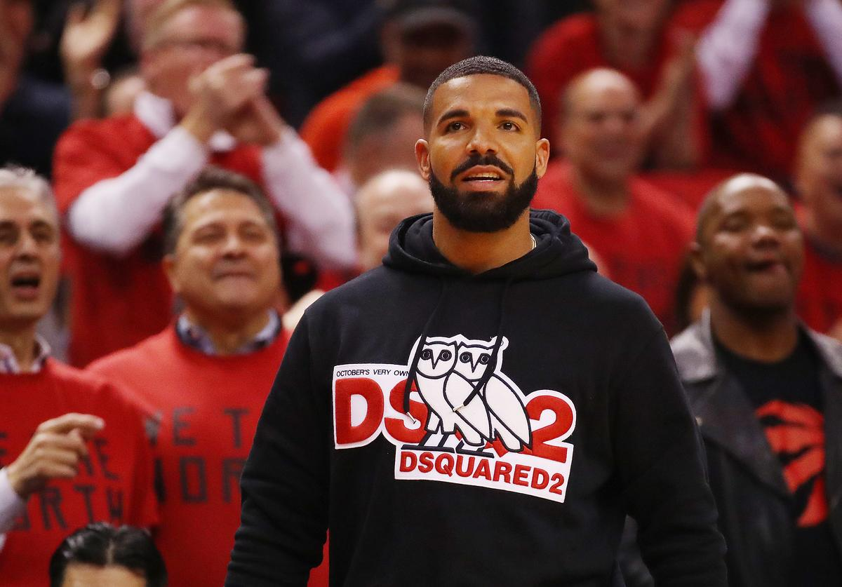 Rapper Drake attends game four of the NBA Eastern Conference Finals between the Milwaukee Bucks and the Toronto Raptors at Scotiabank Arena on May 21, 2019 in Toronto, Canada. NOTE TO USER: User expressly acknowledges and agrees that, by downloading and or using this photograph, User is consenting to the terms and conditions of the Getty Images License Agreement.