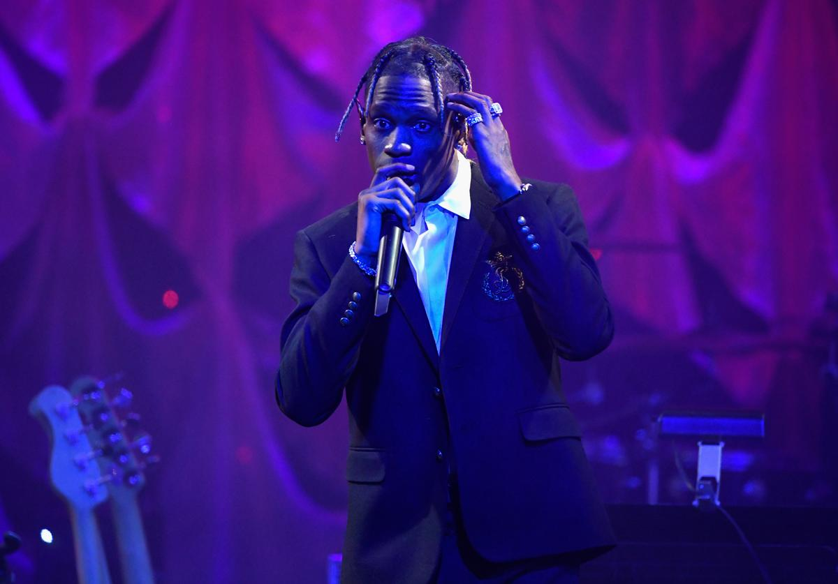 Travis Scott performs onstage during the Pre-GRAMMY Gala and GRAMMY Salute to Industry Icons Honoring Clarence Avant at The Beverly Hilton Hotel on February 9, 2019 in Beverly Hills, California.