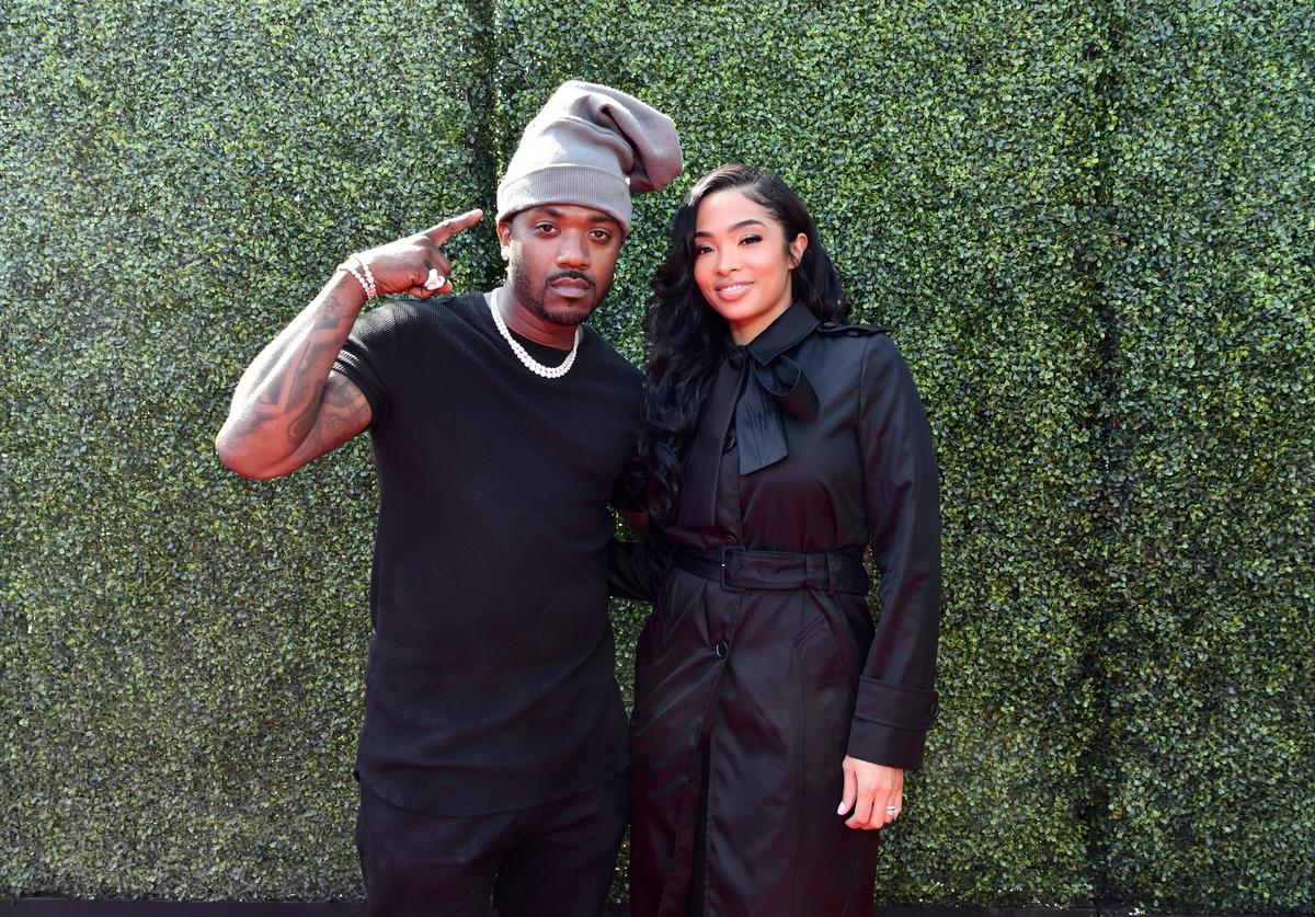 Ray J (L) and Princess Love attend the 2019 MTV Movie and TV Awards at Barker Hangar on June 15, 2019 in Santa Monica, California.