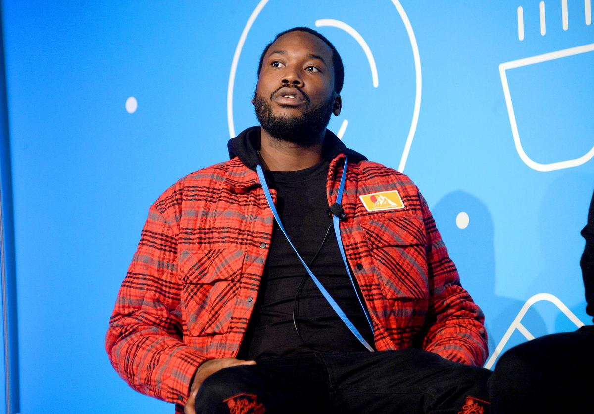 """Meek Mill speaks on stage at the """"Justice for All: Reforming a Broken System"""" at the Fast Company Innovation Festival - Day 2 on November 06, 2019 in New York City"""