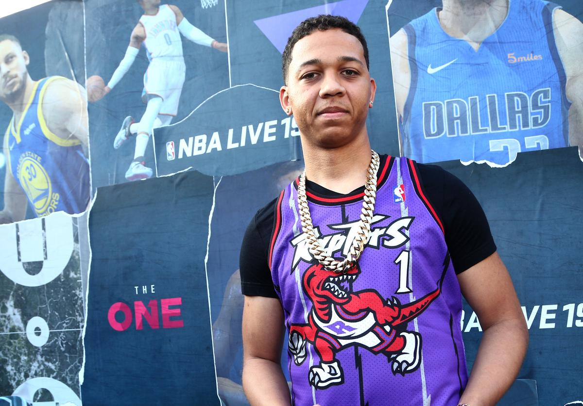 Lil Bibby attends EA SPORTS NBA Live 19 at Goya Studios on August 24, 2018 in Los Angeles, California