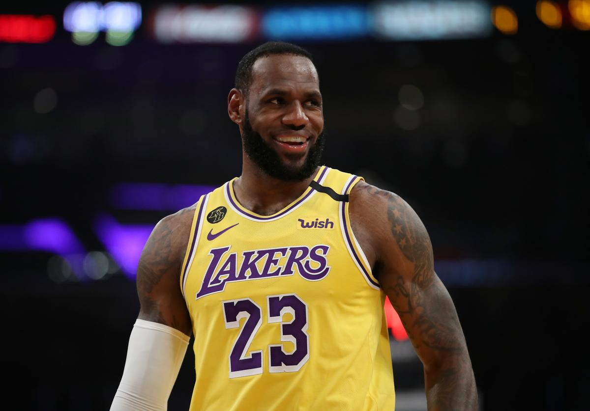 LeBron James #23 of the Los Angeles Lakers stands on the court in a game against the Philadelphia 76ers during the first half at Staples Center on March 03, 2020 in Los Angeles, California.