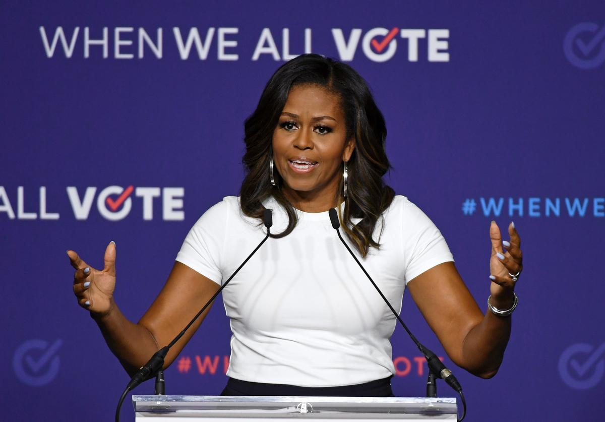 Former first lady Michelle Obama speaks during a rally for When We All Vote's National Week of Action at Chaparral High School on September 23, 2018 in Las Vegas, Nevada. Obama is the founder and a co-chairwoman of the organization that aims to help people register and to vote. Early voting for the 2018 midterm elections in Nevada begins on October 20.