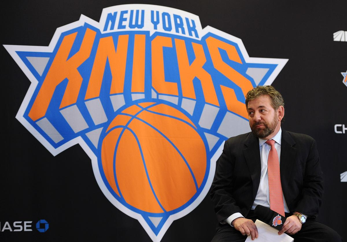 James Dolan, Executive Chairman of Madison Square Garden looks on during the press conference to introduce Phil Jackson as President of the New York Knicks at Madison Square Garden on March 18, 2014 in New York City.