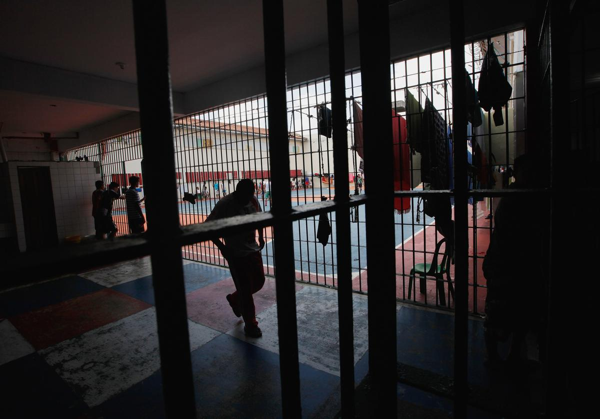 Inmates gather in the overcrowded Puraquequara prison on February 18, 2016 in Manaus, Brazil. The prison holds nearly 1,400 inmates, around twice as many as it was designed for. Brazil now holds the fourth-largest prison population in the world, behind the U.S., Russia and China, with the number of Brazilians behind bars nearly doubling in the past decade. The prison system currently holds more than 600,000 inmates, 61 percent over capacity, according to Human Rights Watch.