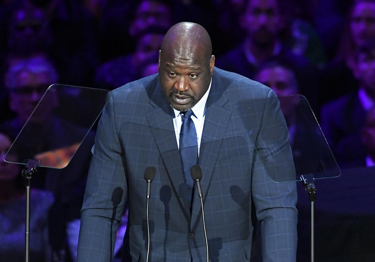 Shaquille O'Neal speaks during The Celebration of Life for Kobe & Gianna Bryant at Staples Center on February 24, 2020 in Los Angeles, California.