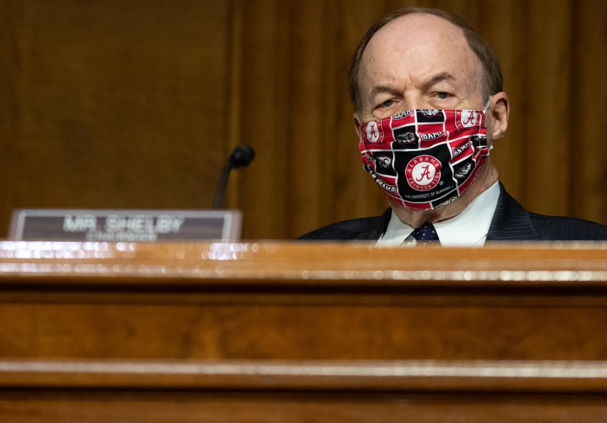 US Senator Richard Shelby, Republican of Alabama, attends a US Senate Appropriations subcommittee hearing on the plan to research, manufacture and distribute a coronavirus vaccine, known as Operation Warp Speed, July 2, 2020 on Capitol Hill in Washington, DC.