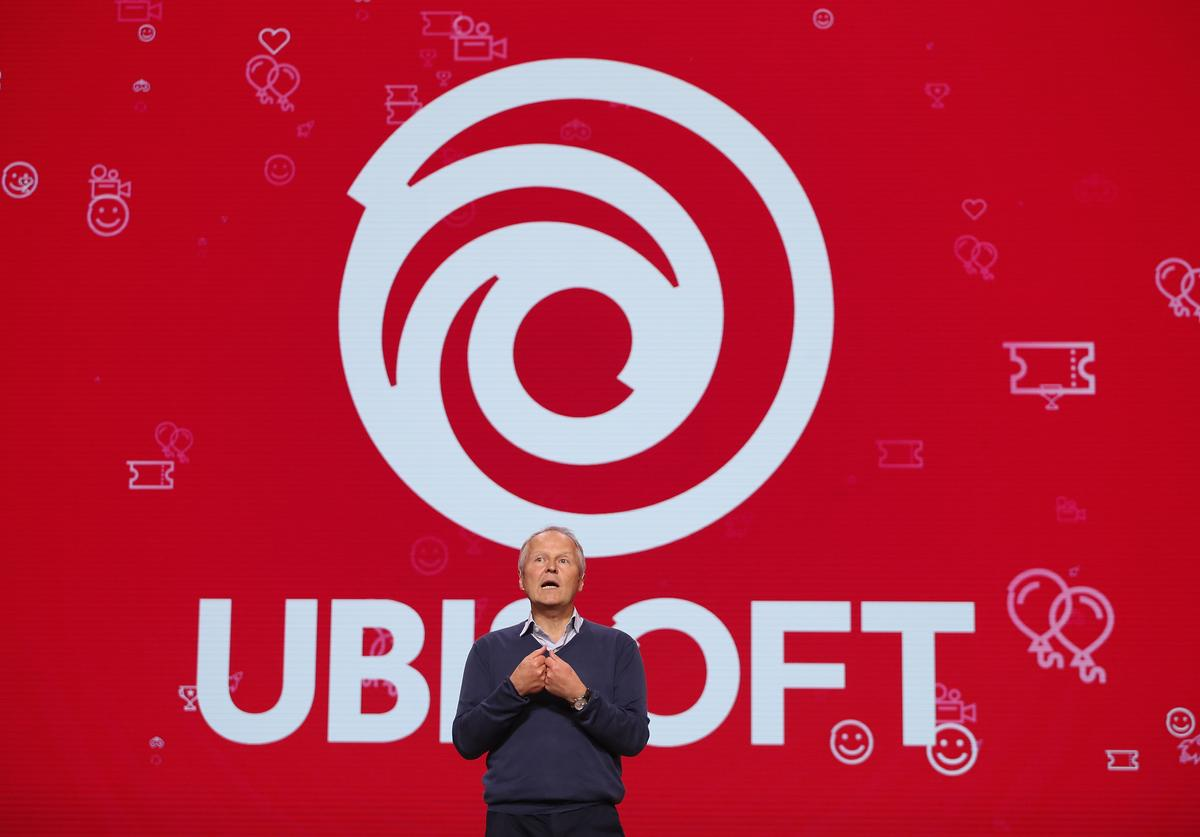 Yves Guillemot, Ubisoft Co-founder and CEO, speaks during the Ubisoft E3 2019 Conference at the Orpheum Theatre on June 10, 2019 in Los Angeles, California.