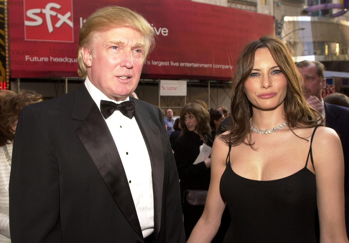 "Donald Trump and girlfriend Melania Knauss attend the opening of the Broadway play ""42nd Street"" May 2, 2001 in New York."
