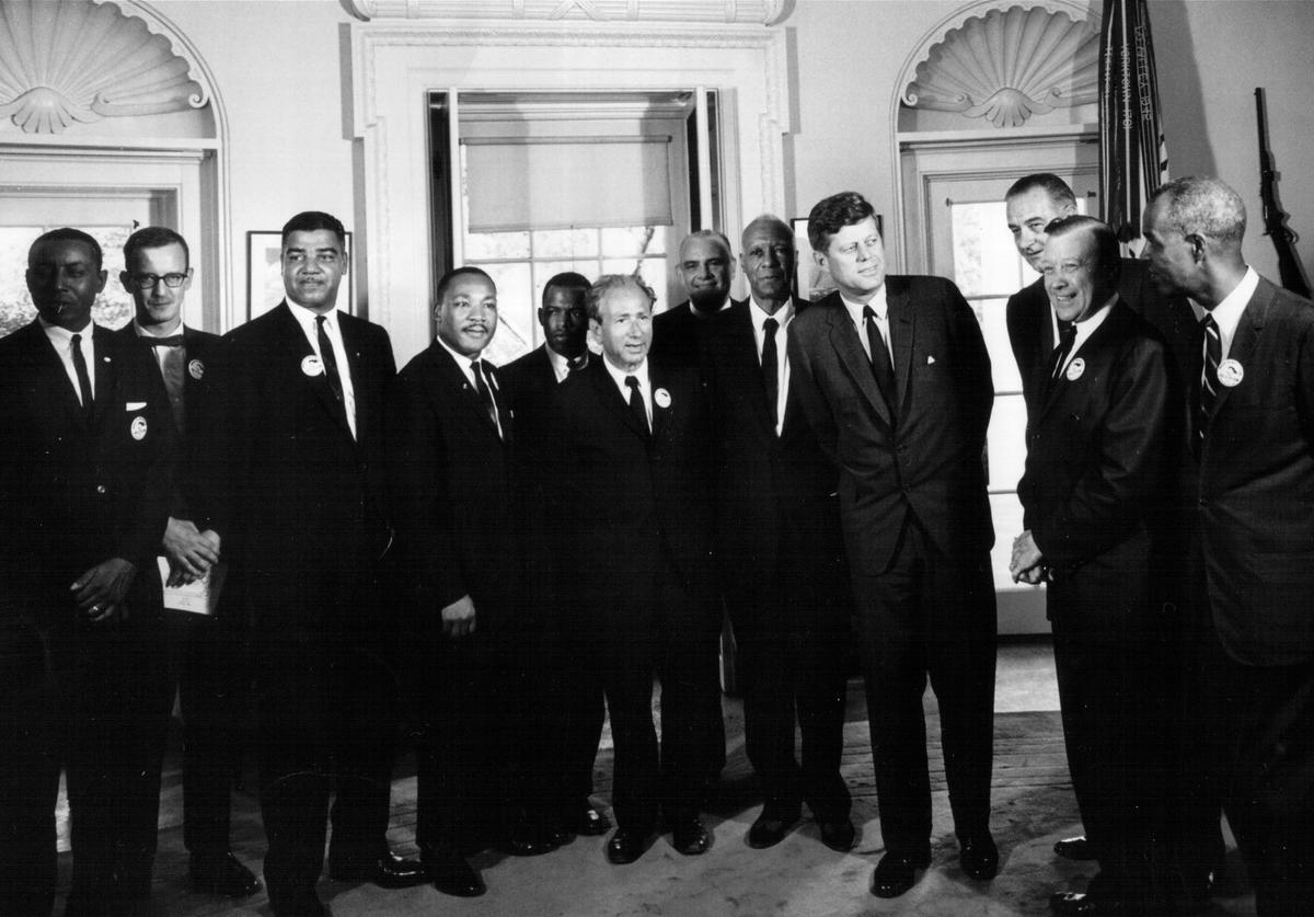 President John F. Kennedy meets with civil rights leaders at the White House August 28, 1963.